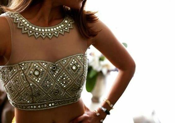 Sheer shoulder mirror work wedding blouse design