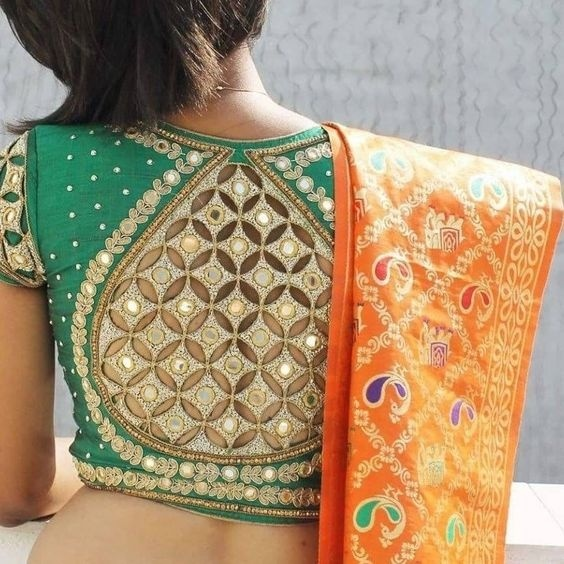 Bridal blouse design with cut-out back