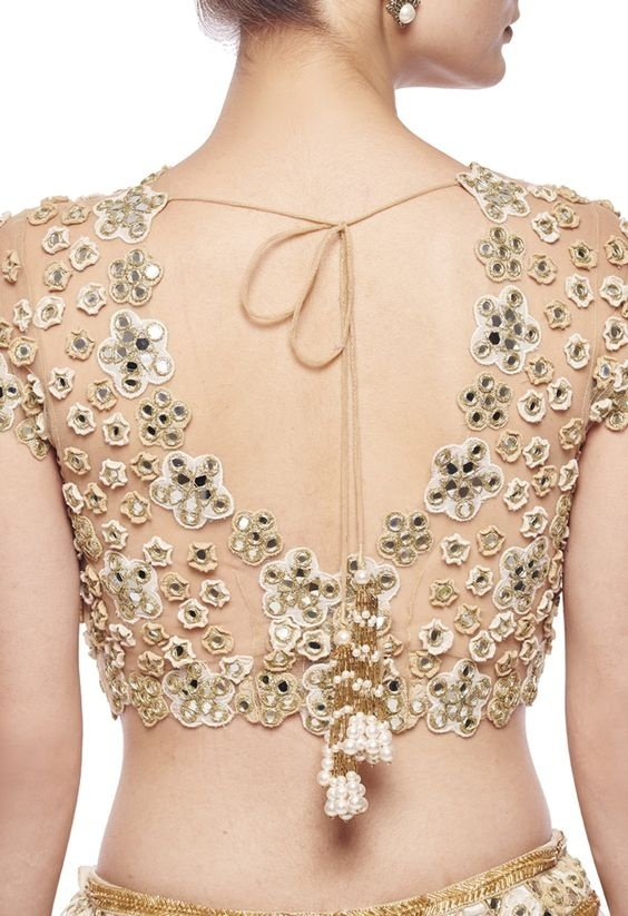 Marriage blouse design with sheer back and mirror work