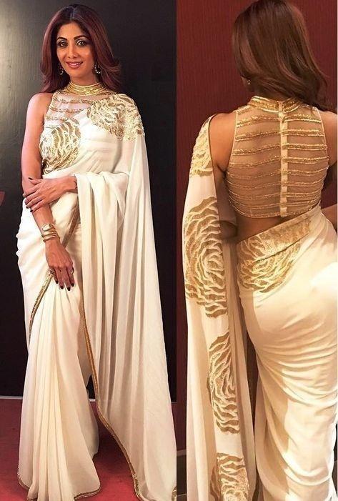 Sheer back gold embellished saree blouse design
