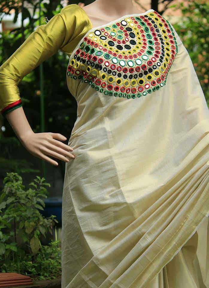 How to make Mirror Work Designer Kerala Saree 2