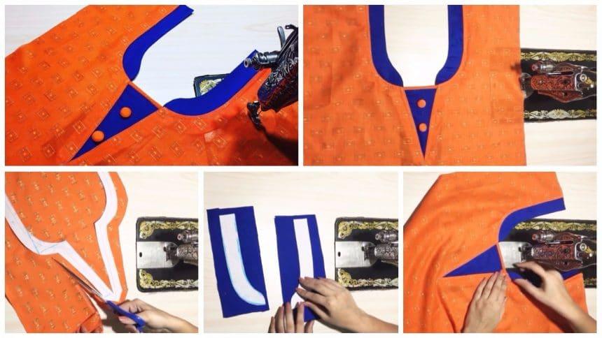 Kurtha Front Neck Design Cutting and Stitching t1